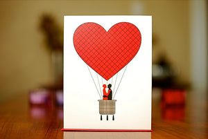 Hot Air Balloon Men Kissing Card