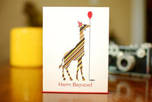 Load image into Gallery viewer, Striped Giraffe With Balloon Birthday Card
