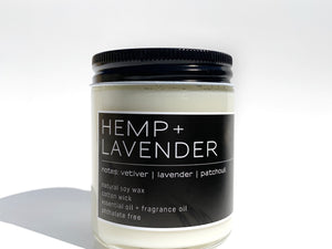 Handcrafted Soy Candle Hemp + Lavender Scent