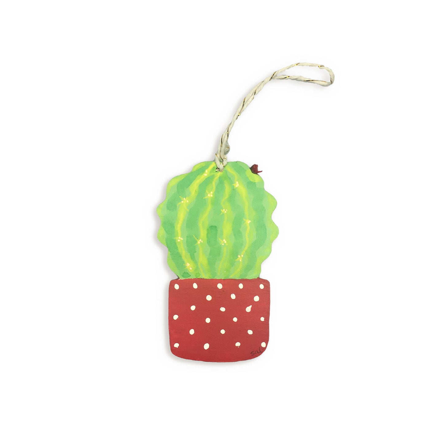 Wooden cactus hanging tag - potted barrel cactus