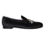 BLACK VELVET STAR EMBROIDERED SLIP ONS - Shop Lozano