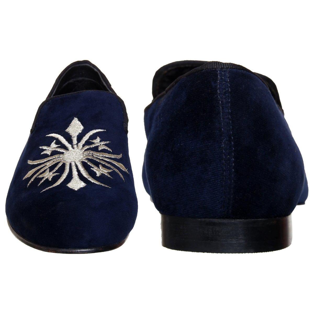 BLUE VELVET STAR EMBROIDERED SLIP ONS - Shop Lozano