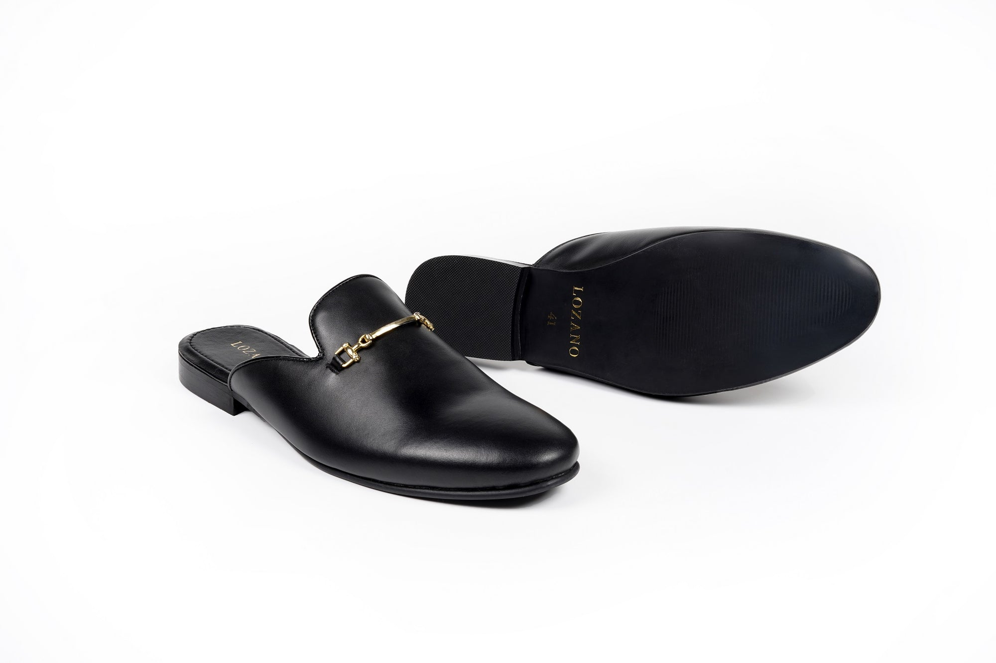 LEATHER MULES WITH GOLD SADDLE - Shop Lozano