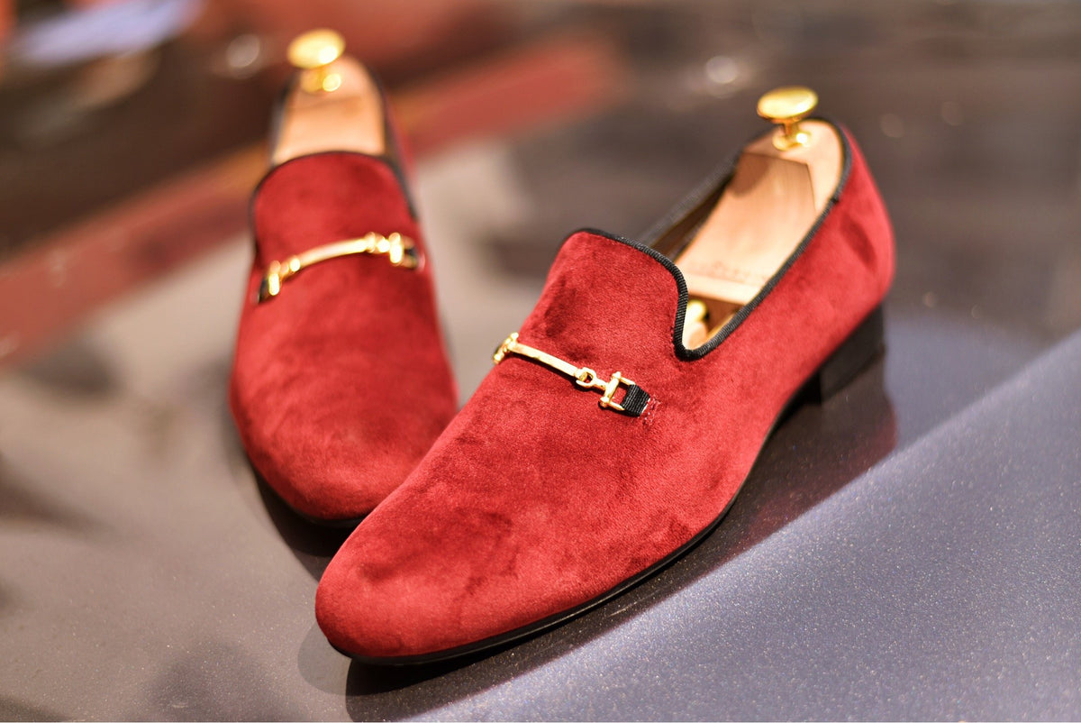VELVET SLIP ONS WITH GOLD SADDLE - Shop Lozano