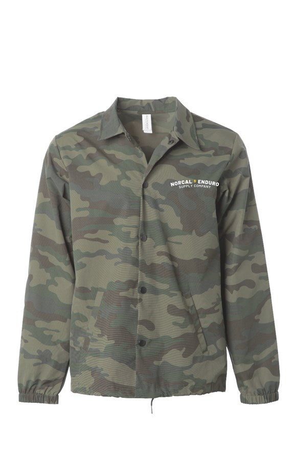 Embroidered Water Resistant Windbreaker Coaches Jacket Camo