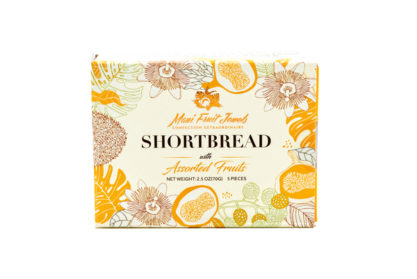 Maui Fruit Jewels, 5-Piece Shortbread with Hawaii Fruits (5 Flavors)