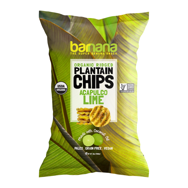 Banana, The Super Banana Snack, Organic Ridged Plantain Chips, Acapulco Lime