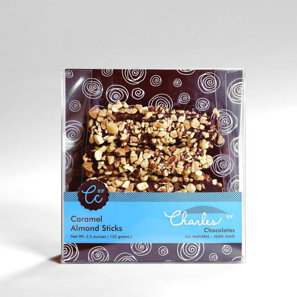 Charles Chocolates, Caramel Almond Sticks, 2.8