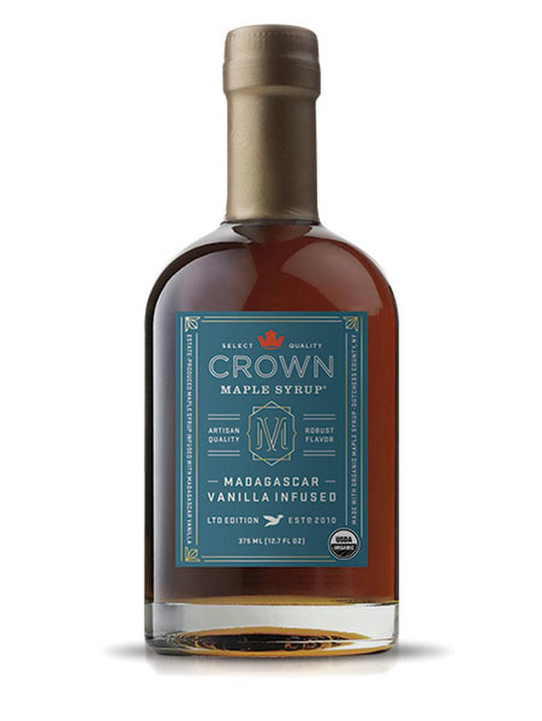 Crown Maple, Madagascar Vanilla Infused Organic Maple Syrup, 375ml (12.7 FL OZ )