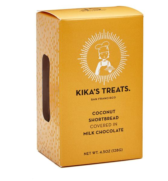Kika Treats, Coconut Shortbread in Milk Chocolate