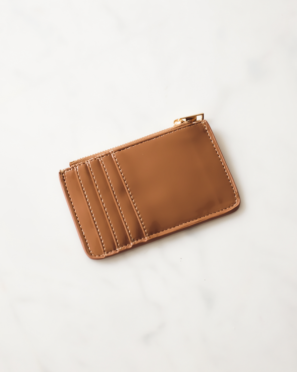 AIMEE CARD HOLDER - TOFFEE PATENT