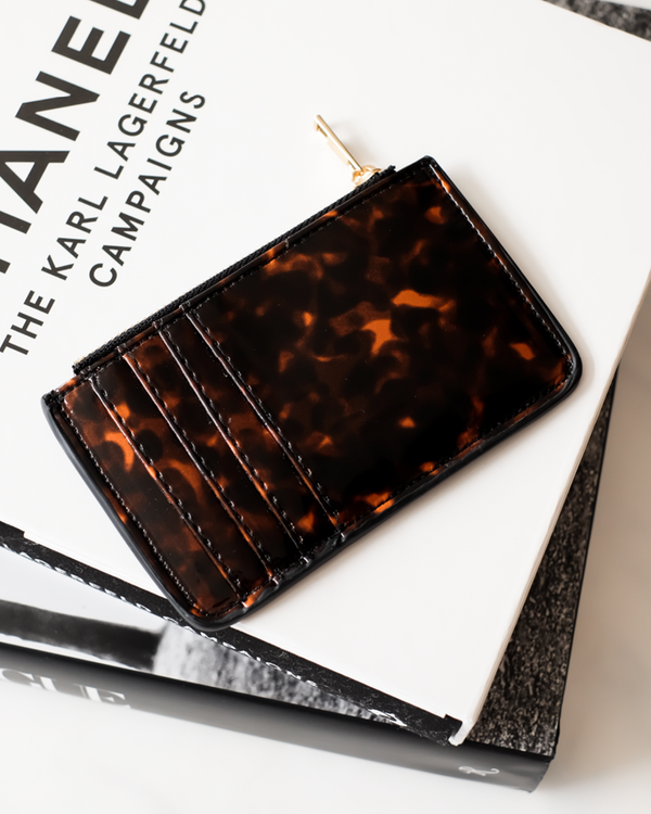 AIMEE CARD HOLDER - TORTOISESHELL