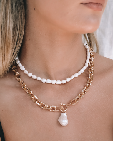 CORALIA NECKLACE - PEARL-NECKLACES-Billini-O/S-BILLINI USA
