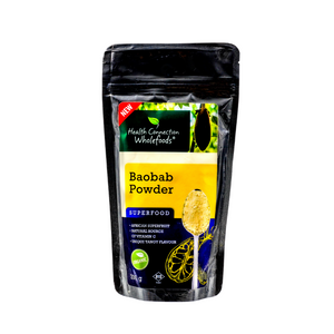 Baobab powder in a silver zip lock sealed bag