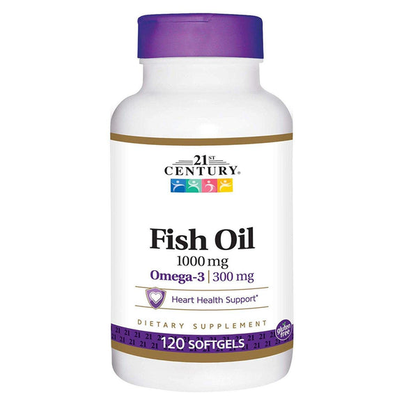 21st Century, Fish Oil 1000mg, omega-3 300mg, 120softgels - Organic and Natural