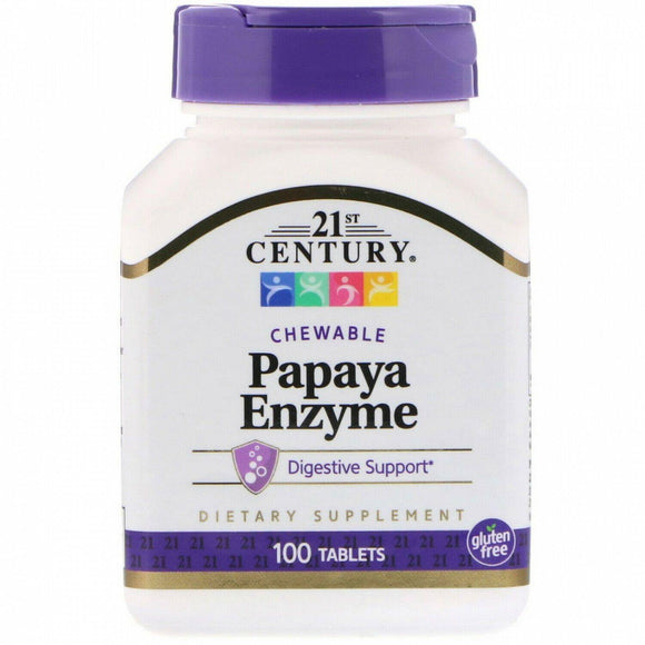 21st Century, Papaya Enzyme, 100 chewable tabs - Organic and Natural