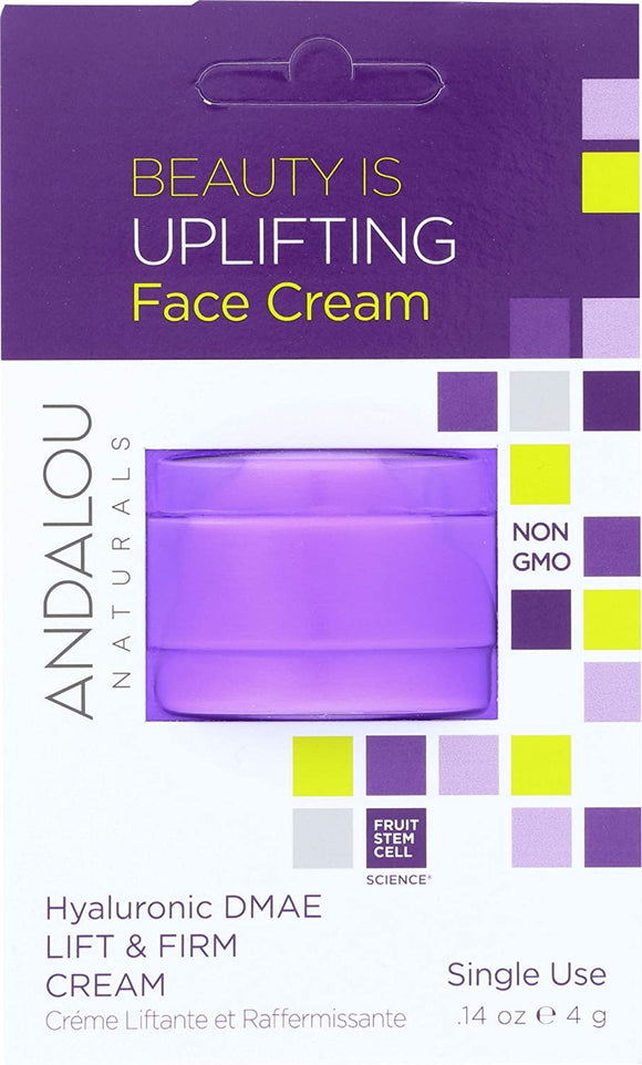 ANDALOU NATURALS, LIFT & FIRM CREAM, HYALURONIC DMAE, SINGLE USE, .14oz (4g)