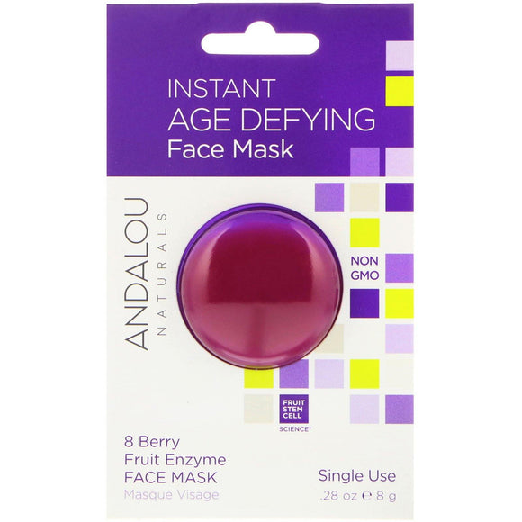 Andalou Naturals, Instant Age Defying, 8 Berry Fruit Enzyme Face Mask, .28 oz (8 g) - Organic and Natural