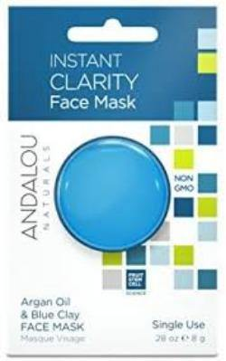Andalou Naturals, Instant Clarity, Argan Oil & Blue Clay Face Mask, .28 oz (8 g) - Organic and Natural