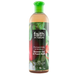 Faith in Nature, Shower gel & foam bath, pomegranate and raiboos 400ml