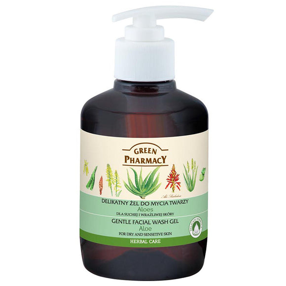 Green Pharmacy, Gentle Facial Wash Gel, Aloe, for dry & sensitive skin