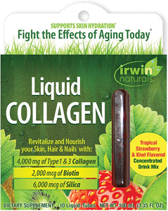 Irwin Naturals, Liquid Collagen, Tropical Strawberry & Kiwi, 10 Liquid-Tubes, 10 ml