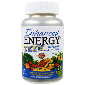 KAL, Enhanced Energy, teen, memory & concentration blend, 60 veggie tabs