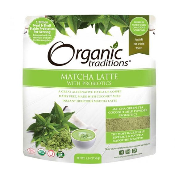 Organic Traditions, Matcha Latte with Probiotics, 150g