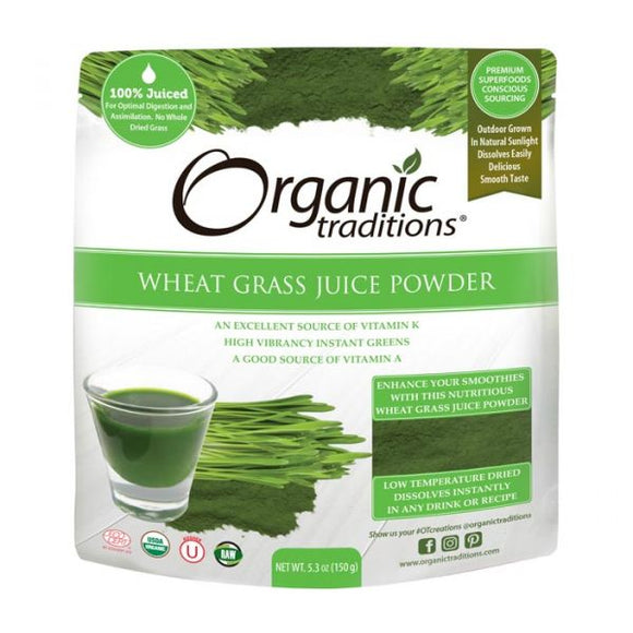 Organic Traditions, Wheat Grass Juice Powder, 150g