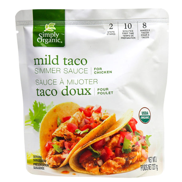 Simply Organic, Simmer Sauce Mild Taco for Chicken 227g