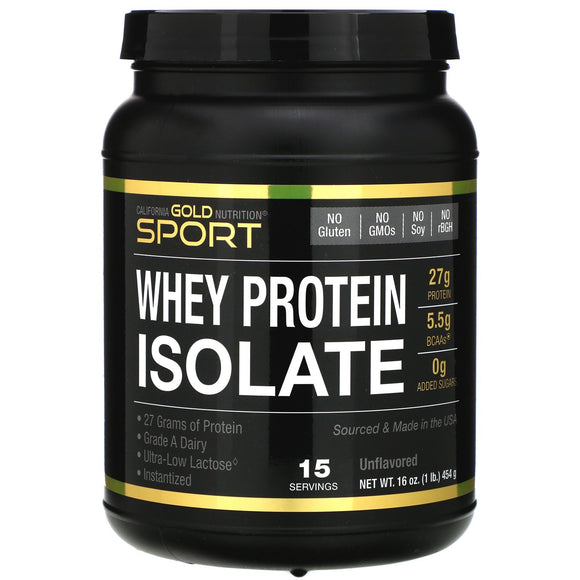 California Gold Nutrition, Sport Whey Protein Isolate, Unflavored, 90% Protein 16oz 454g