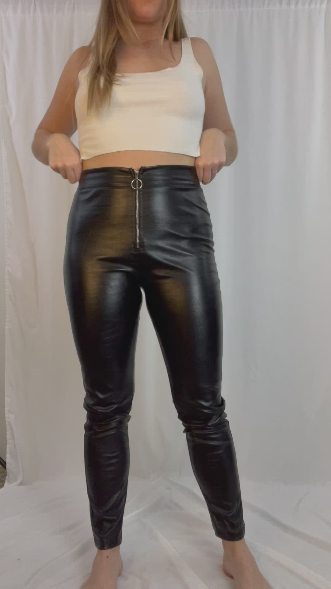 High Waisted Zip Vegan Leather Pants