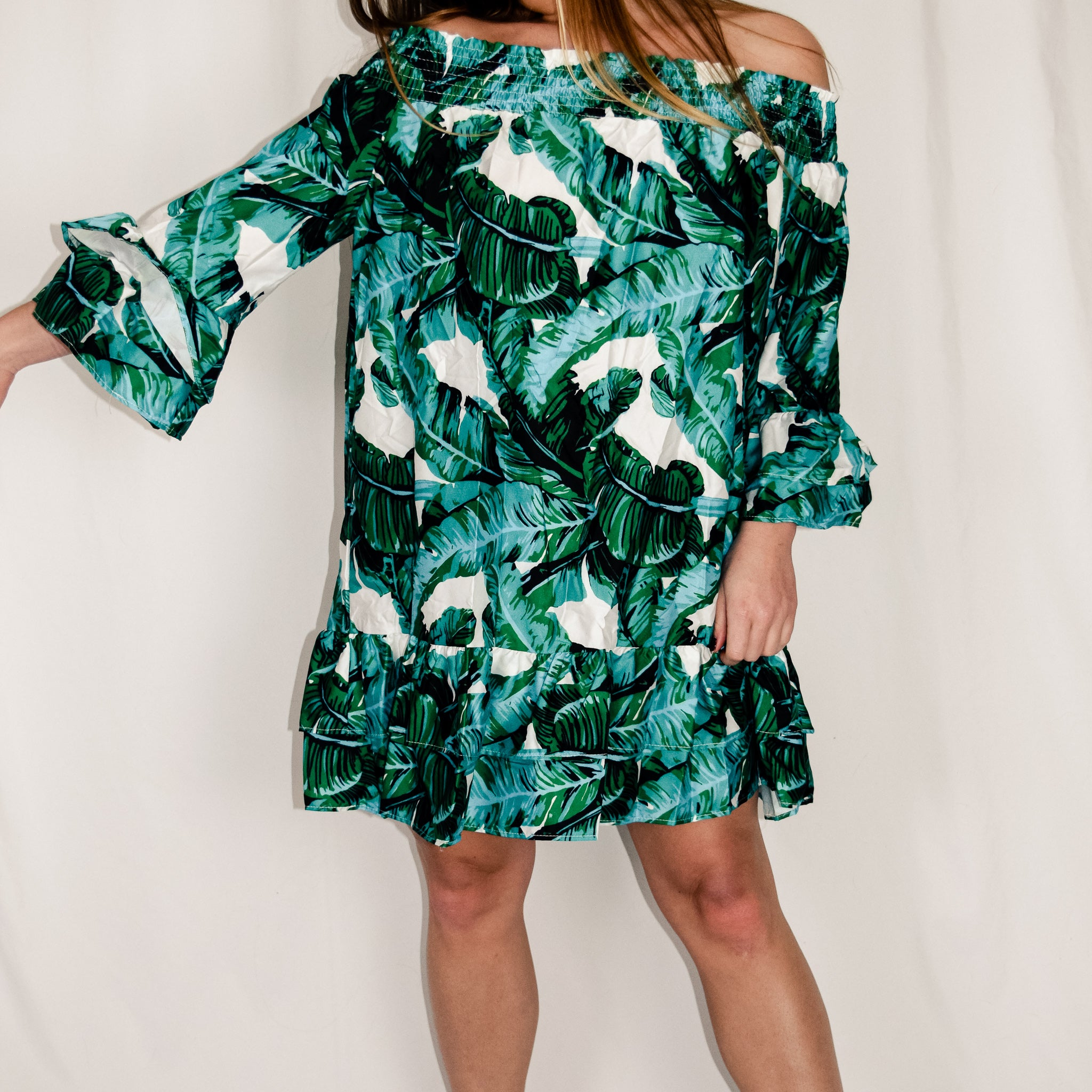 Jungle Print Ruffle Dress