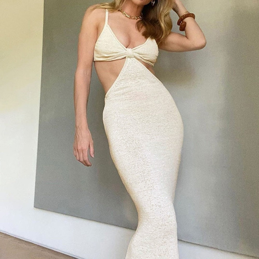 Knitted Cutout Maxi Dress