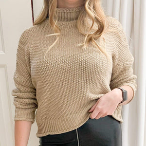 Westware Beige / S Chunky Knit Turtleneck Sweater
