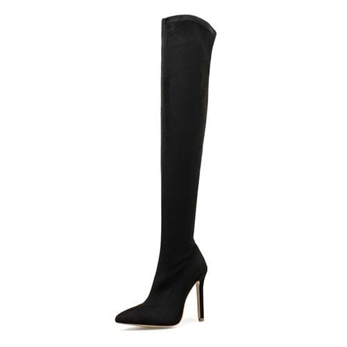 Westware Black suede / 5 / United States Over The Knee Snake Print Boots -  High Heel
