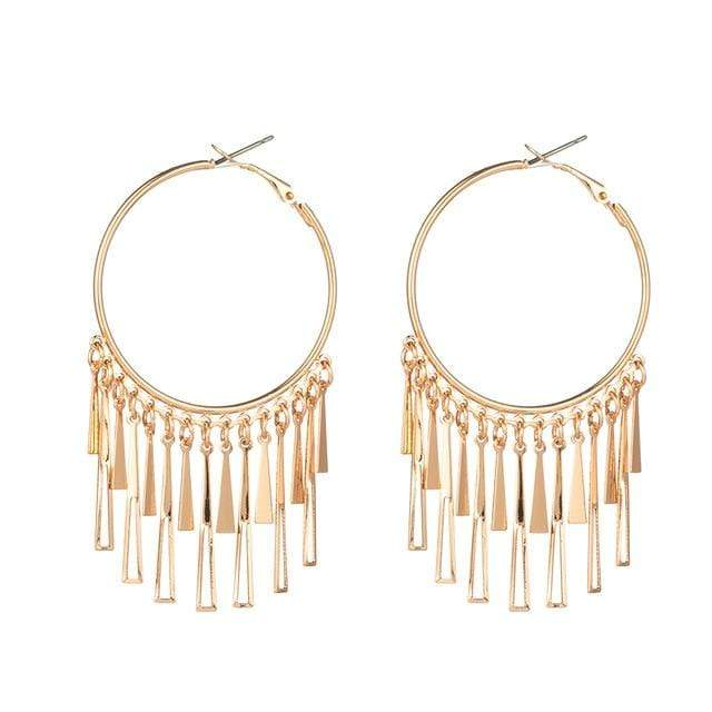 Westware Gold / United States Tassel Hoop Earrings