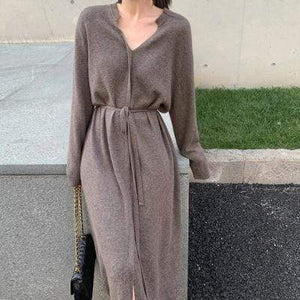 Westware Mocha / One Size Tie Front Sweater Mid Dress