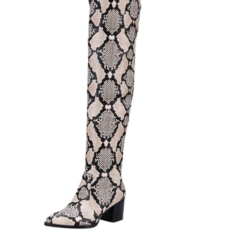 Westware Over The Knee Snake Print Boots -  Chunky