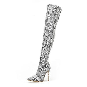 Westware Serpentine / 5 / United States Over The Knee Snake Print Boots -  High Heel