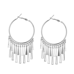 Westware Silver / United States Tassel Hoop Earrings