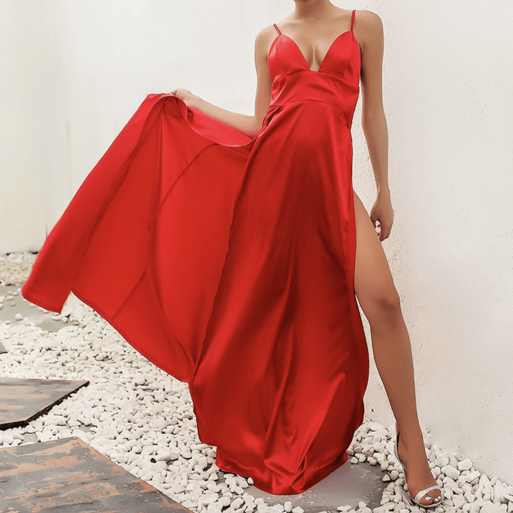 Westware Split Leg Satin Maxi Dress