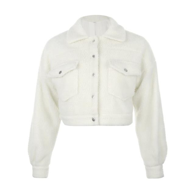 Westware White / S / United States Cropped Sherpa Jacket