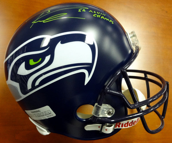 "Russell Wilson Autographed Seattle Seahawks Super Bowl Full Size Helmet ""SB XLVIII Champs"" Signed in Green RW Holo"