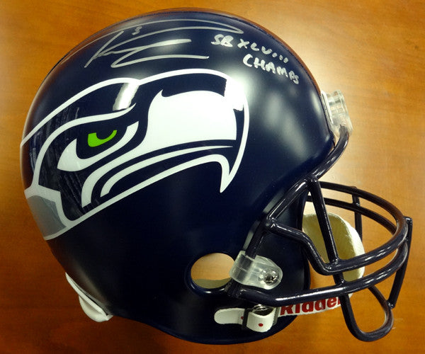 "Russell Wilson Autographed Seattle Seahawks Full Size Helmet ""SB XLVIII Champs"" Signed in Silver RW Holo"