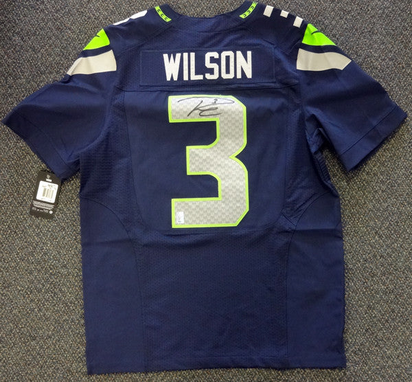 low priced 3b614 ad20c Russell Wilson Autographed Seattle Seahawks SB XLIX Blue Nike Elite Jersey  Size 44 RW Holo Stock #88310