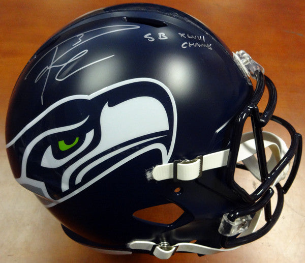 "Russell Wilson Autographed Seattle Seahawks Full Size Speed Replica Helmet in Silver ""SB XLVIII Champs"" RW Holo Stock #94268"