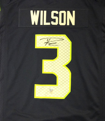 Russell Wilson Autographed Seattle Seahawks Nike Blue Twill Jersey Size XL RW Holo #71431