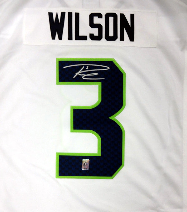Russell Wilson Autographed Seattle Seahawks White Nike Twill Jersey Size XXL RW Holo Stock #71435