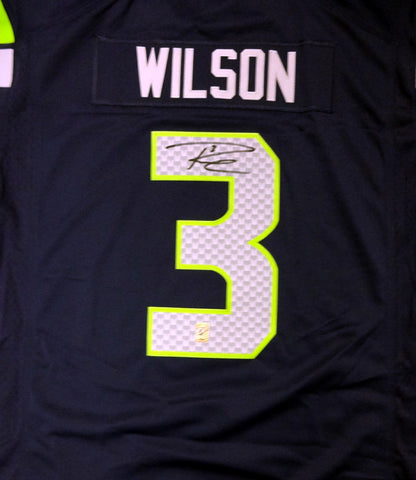 Russell Wilson Autographed Seattle Seahawks Nike Blue Twill Jersey Size XXL RW Holo #71432
